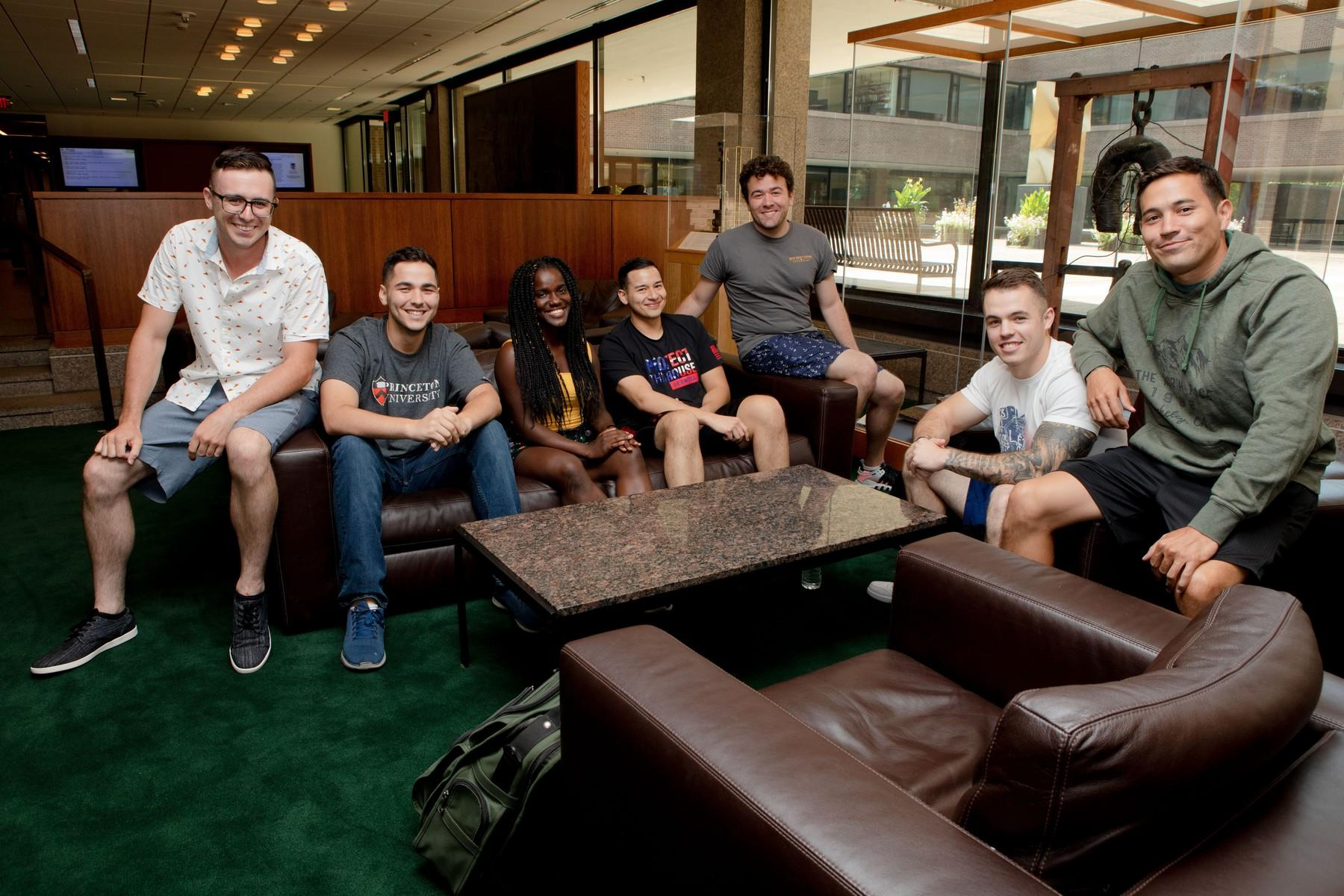 Group of transfers students and student military veterans sitting on a couch
